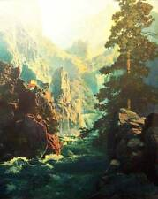 Canyon, Mountains, Blue Stream by Maxfield Parrish