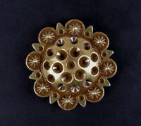"""Set of 5 WESTERN HORSE SADDLE TACK 1-3/8"""" Antique Brass BERRY CONCHOS screw back"""