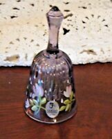 Fenton Purple Ribbed Bell Hand Painted Floral Signed Fenton Label