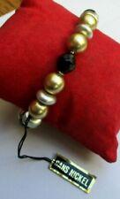 léger bracelet extensible de perles en résine argenté doré et noir bijou 3558