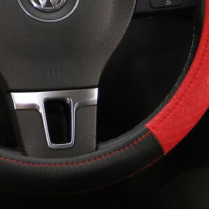 """Black & Red PVC Leather Steering Wheel Cover Civic Accord 14""""-15"""" Non-Slip Sport"""