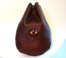 DRAGON EYE TALLER BROWN LEATHER DICE RUNE COIN POUCH BAG  SCA LARP