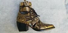 CHLOÉ Rylee snake-effect leather ankle boots US 8 New Box