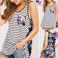 Women Maternity Sleeveless T Shirt Floral Blouse Striped Tops Nursing Tank Vest
