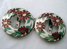 Vintage cloisonne enamel buckle with 2 circles of red daisies