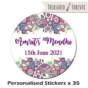 Personalised Mehendi / Mendhi Night Celebration Favour Gift - 35 Stickers Labels