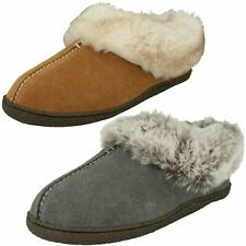 Ladies Clarks Faux Fur Trim Slippers Home Bliss