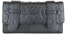 BLACK LEATHER LOOK EMBOSSED SKULL PURSE CLUTCH WALLET NEW GIFT GOTH BIKER TATTOO