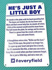 He's Just A Little Boy Inspirational Baseball Sign #everyfield Little League MLB