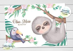 Sloth, Jungle Animals Baby's First Year Calendar, Personalized Calendar for baby