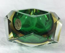 Murano Sommerso Faceted Handmade Emerald Green Amber Glow Art Glass Ashtray