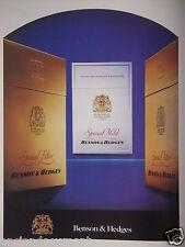 PUBLICITÉ 1986 BENSON & HEDGES CIGARETTES SPECIAL MILD - ADVERTISING