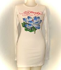 Christian Audigier Ed Hardy White Cotton Tunic T Shirt Rhinestone Blue Lotus S