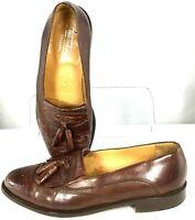 Johnston Murphy Cellini Loafer Men's 9 M Brown Leather Kiltie Tassel Shoes Italy