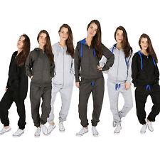Womens Plain Contrast 2 pc Plus Size Tracksuit Hooded Zipper Full Length Trouser