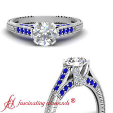 1.25 Carat Round Cut Diamond And Sapphire Vintage Milgrain Engagement Rings GIA