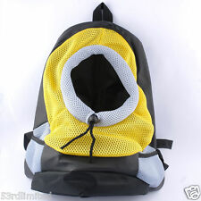 Pet Dog Puppy Backpack Travel Bag Front Carrier Net Double Sling Shoulder Yellow