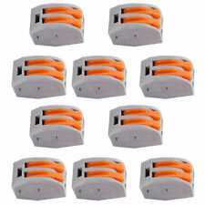 10PCS SPRING LEVER TERMINAL BLOCK ELECTRIC CABLE WIRE CONNECTOR 2 WAY BT