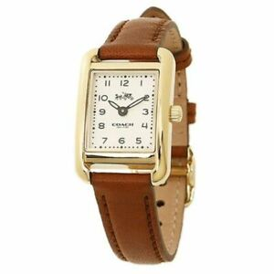 New Coach Perry Quartz Off-White Dial Leather Strap Women's Watch 14502297