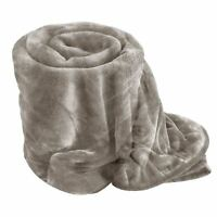 Luxury Silver Super Soft MINK FAUX FUR BLANKET Bed,Sofa Throw Double King Size