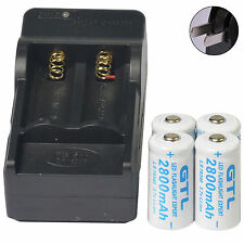 4pcs 16340 CR123 3.7V GTL 2800mAH Li-ion Rechargeable Battery Cell + Charger