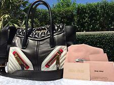 MIU MIU NAPPER BIKER BAG RN1032 NERO BIANCO (BLACK WHITE RED) $2190 NWT-SOLD OUT