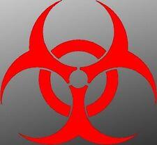 (2) Biohazard Hazardous Waste Halloween Vinyl Decal Car Window Stickers RED