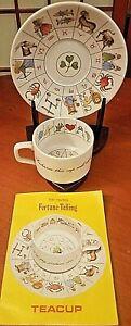 Vintage Jon Anton Taltos Fortune Telling Teacup Saucer Set England Ironstone