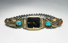 Vintage Signed Virginia C. Navajo Turquoise & Red Coral Watch Tips C2268