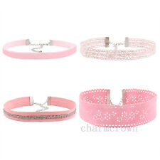 4 pcs Gothic Pink Lace Flower Choker Collar Crystal Necklace Punk Women Jewelry