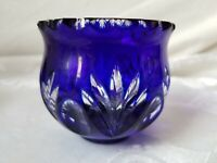 Cobalt Cut To Clear Crystal Clear Votive Candle Holder Made In Hungary