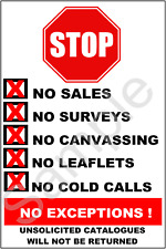 LAMINATED (WEATHERPROOF) NO COLD CALLERS/LEAFLET DROPPERS/CANVASSERS SIGN
