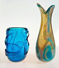 More details for uber rare mdina trailed vase by michael harris in dark blue squat version
