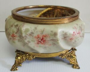 VICTORIAN WAVECREST GLASS LG BOX BASE W/ ORMOLU FOOTED TRIM BASE JARDINIERE