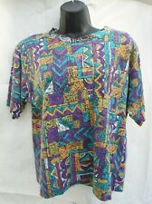 Vintage 80s 90s The Season Ticket Womsn Shoulder pad T Shirt purple teal S Small