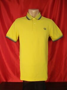 """Fred Perry M1200 Mens S Small Polo Shirt Yellow Orange Solid Twin Tipped 19"""""""