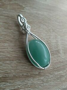 Handmade Green Aventurine Crystal Gemstone Silver Wire Wrapped Pendant Jewellery