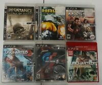 PS3 6 Game Lot Uncharted 1 2 RESTISTANCE HAWK MASS EFFECT TURISUMO 5 PLAYSTATION