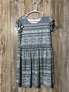 JUSTICE Girls Size 18 Plus green & white Print dress Short Sleeve