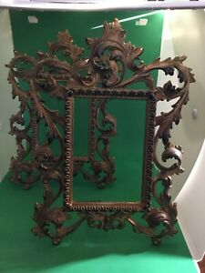 Pair of Brass Art Nouveau Victorian Style Antique Picture Frames Ornate 11""