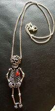 Rockabilly Steampunk Day Of The Dead Skeleton Necklace 3D, Diamanté Bow & Flower