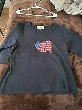 Christine Alexander  Bling American flag heart Black shirt  Sz XL nwot