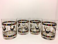 Warren Kimble Double Old Fashioned Rooster Design Glasses - Set Of 4
