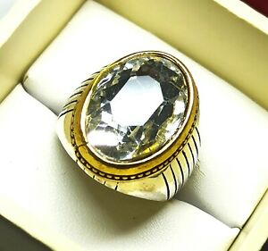 Pretty Ring Oval Cut Zircon Silver Plated Solid Stunning US Size 9