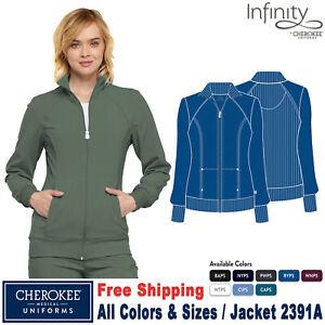 Cherokee Scrubs INFINITY Women's Medical Sporty Zip Front Warm-up Jacket 2391A