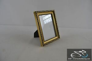 """Gold and Black Picture Frame Wall or Desk Fits 6.5 x 4.5"""" Prints Photos"""