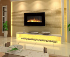"1500W 36"" 90CM BLACK WALL MOUNTED ELECTRIC FIREPLACE, HEATER, FIRE, FLAME"