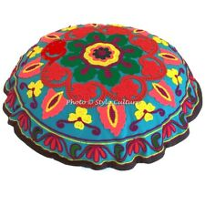 Boho Round Sujani Embroidered Floor Cushion Cover Couch Pouffe Floral Cotton 18""
