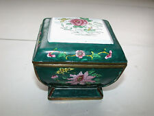Beautiful Antique Chinese Canton Famille Rose Enameled Square Pedestal Lided Box