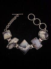 Stunning Merlinite Bracelet 925 Sterling Silver Dendritic Agate Dendrite Opal